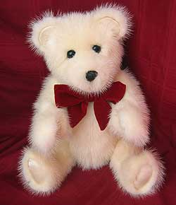 White Mink teddy bear made from mink fur coat