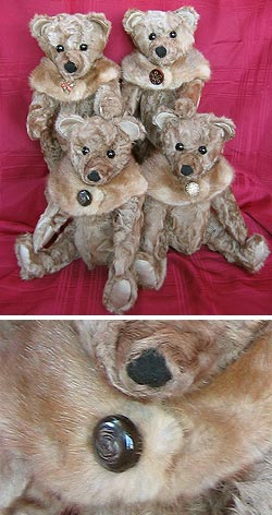 Four teddy bears (paw-bear style) made from lamb coat with four removable fur collars made from stole