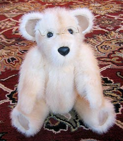 Cream colored mink teddy bear made from mink stole
