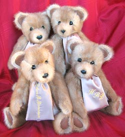 Four matching bears made from fur coat.