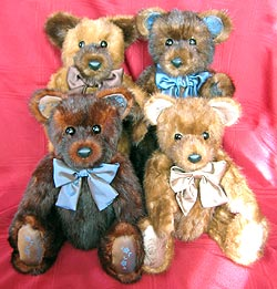 A special group of four fur teddy bears made from four of grandma's fur stoles.