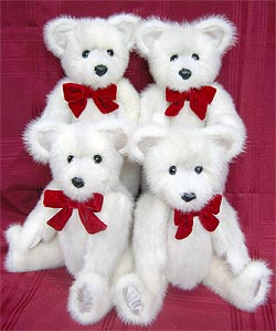 "four16"" mink teddy bears made from one mink coa from the lining of your fur coat"