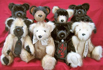 Eight fur teddy bears made form Grandma's Ranch Mink fur coat and Fitch fur coat