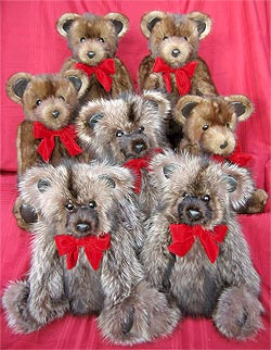 A family of teddy bears - four mink and three raccoon