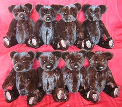 Eight mink teddy bears made from two ranch mink coats
