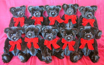 "A beautiful family of ten, 14"" mink teddy bears made from a full length mink coat."
