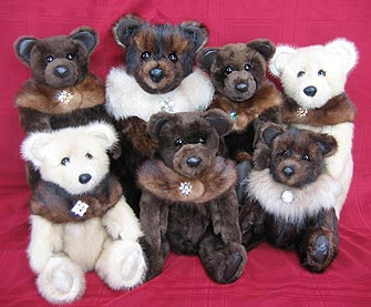 A wonderful combination of seven fur teddy bears created from a variety of furs