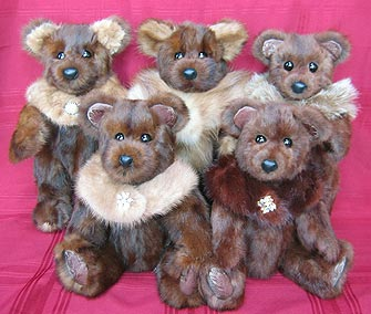 Five teddy bears made from two squirrel fur stoles
