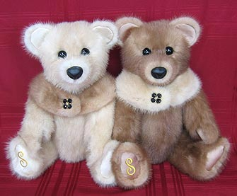 A pair of mink fur teddy bears