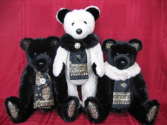 "A fantastic black and white trio of 24"" mink fur teddy bears"
