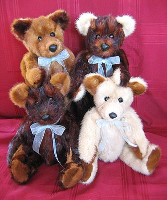 Family of mixed mink fur teddy bears