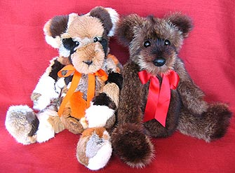 A fun pair, fox sections teddy bear and beaver teddy bear.
