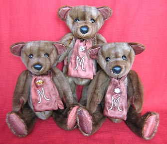 "Three marmont teddy bears in created in ""Olde Tyme Style"""