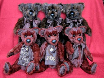 A family of three muskrat fur teddy bears and three mink teddy bears
