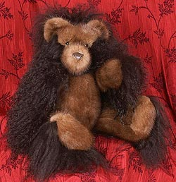 Natural Lunaraine mink fur and black Tibetan lamb teddy bear.