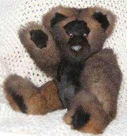 Natural dark brown Australian opossum fur teddy bear with natural ranch mink pads, face, ears, and stomach.
