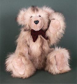 Bleached raccoon fur teddy bear with oyster sheared beaver snout,