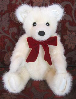 Jasmine mink teddy bear with silk paw pads and inner ears.