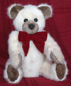 Blush Mink Side Teddy Bear with sheared mink paw pads innner ears and snout.