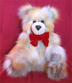Natural Red Fox Sections Teddy Bear with sheared beaver snout, leather inner ears and paw pads.