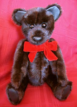 Natural Dark Ranch Mink Paw Fur Teddy Bear with leather innner ears and paw pads.
