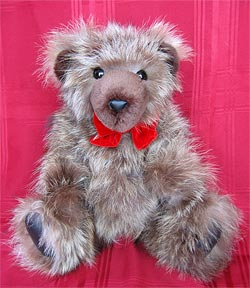 Natural Raccoon Teddy Bear from raccoon fur sections with sheared beaver snout