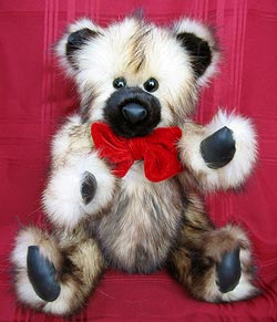 Full Skin Natural Fitch Fur Teddy Bear with mink snout and inner ears. Leather paw pads.