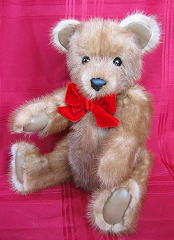 Natural Full Skin Autumn Haze Mink Teddy Bear with leather paw pads and inner ears.