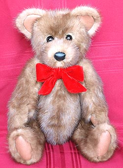 Natural Full Skin Dark Autumn Haze Mink Teddy Bear with leather paw pads and inner ears.