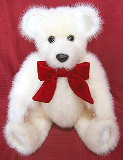 Jasmine Mink Fur Teddy Bear  with silk inner ears and paw pads