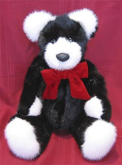 Black Mink Fur Teddy Bear with white mink paw pads, ears, and snout.