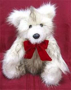 Polar Raccoon Fur Teddy Bear with Tourmaline mink inner ears, snout and paw pads.