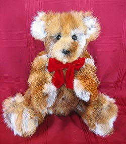 "24"" Multi-colored Fox Fur Sections Teddy Bear all fur with leather nose"