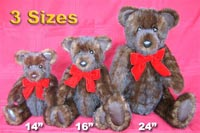 "three different sizes of Stadler fur teddy bears—14"", 16"" and our giant 24"""